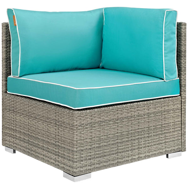 Repose 8 Piece Outdoor Patio Sectional Set - Light Gray Turquoise