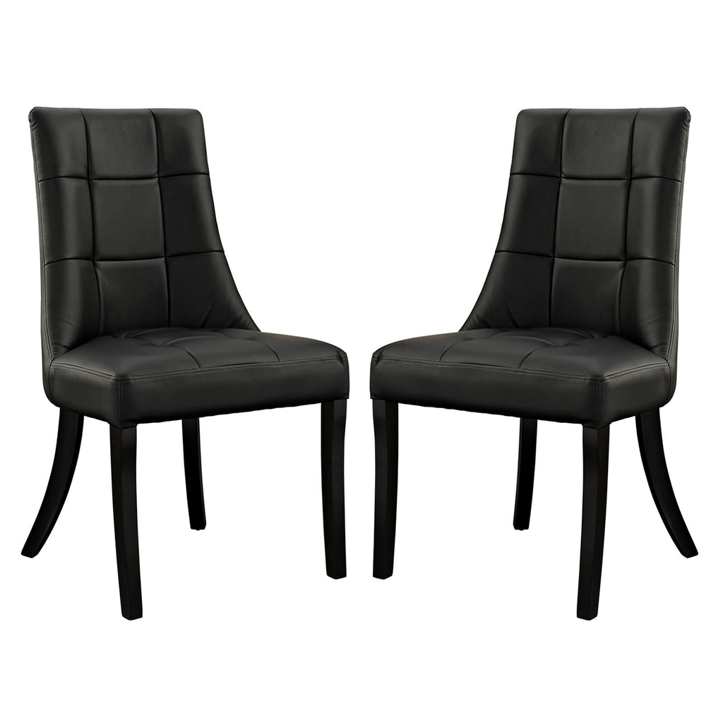 Noblesse Dining Chair Vinyl Set of 2 - Black