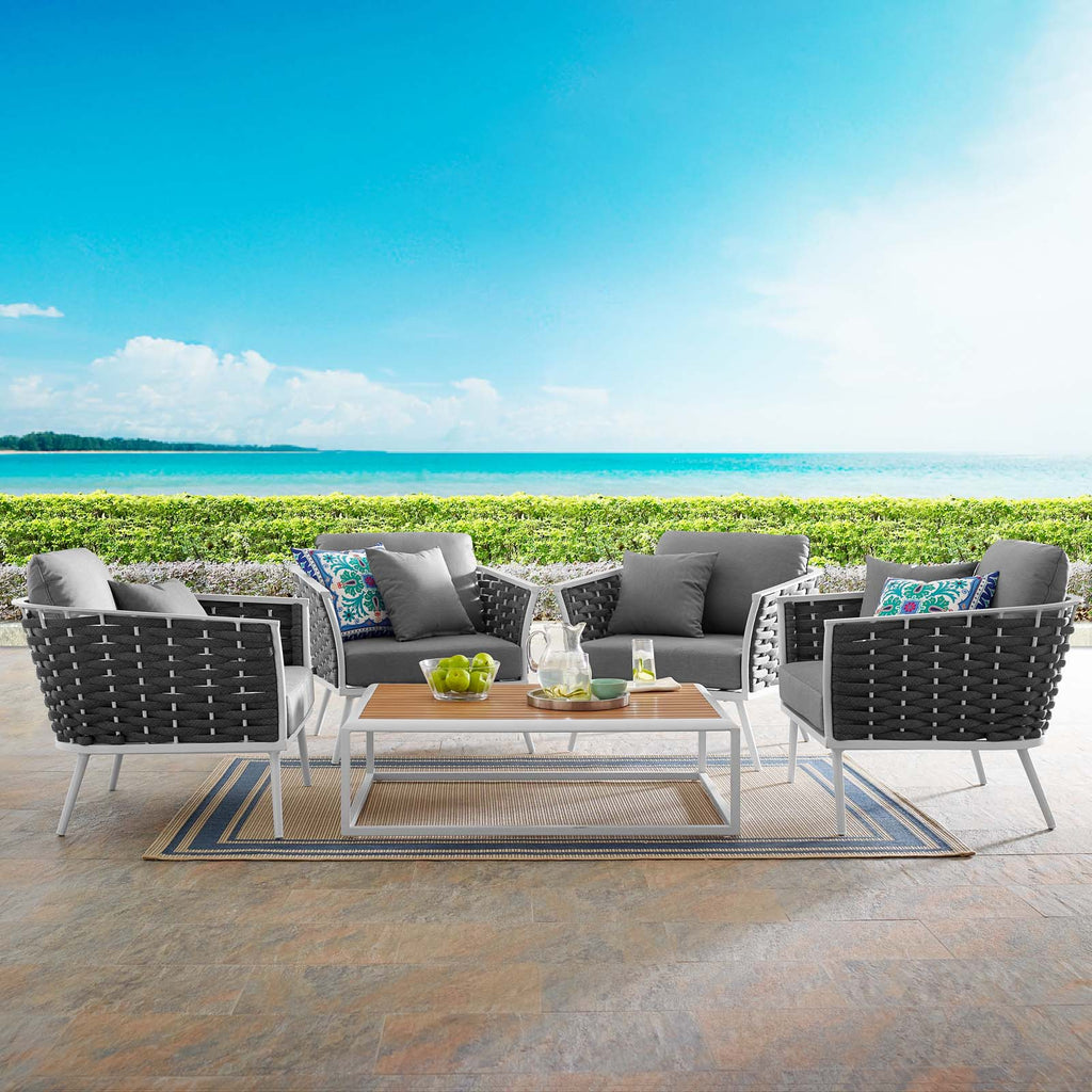 Stance 5 Piece Outdoor Patio Aluminum Sectional Sofa Set - White Gray