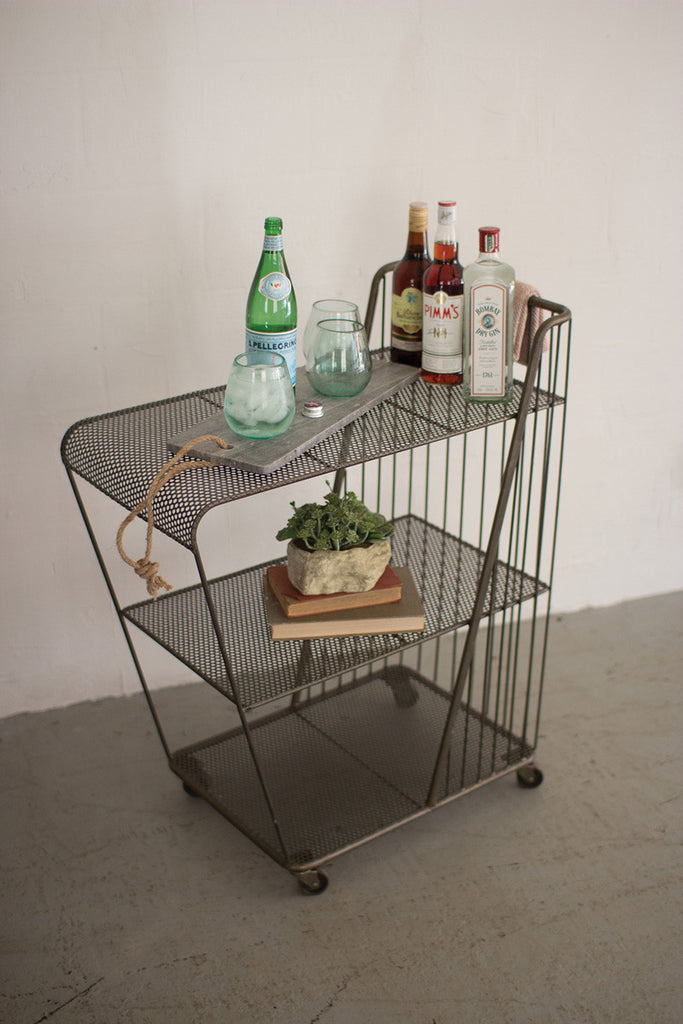 Rolling Drink Cart with perforated Metal Shelves - Raw Metal