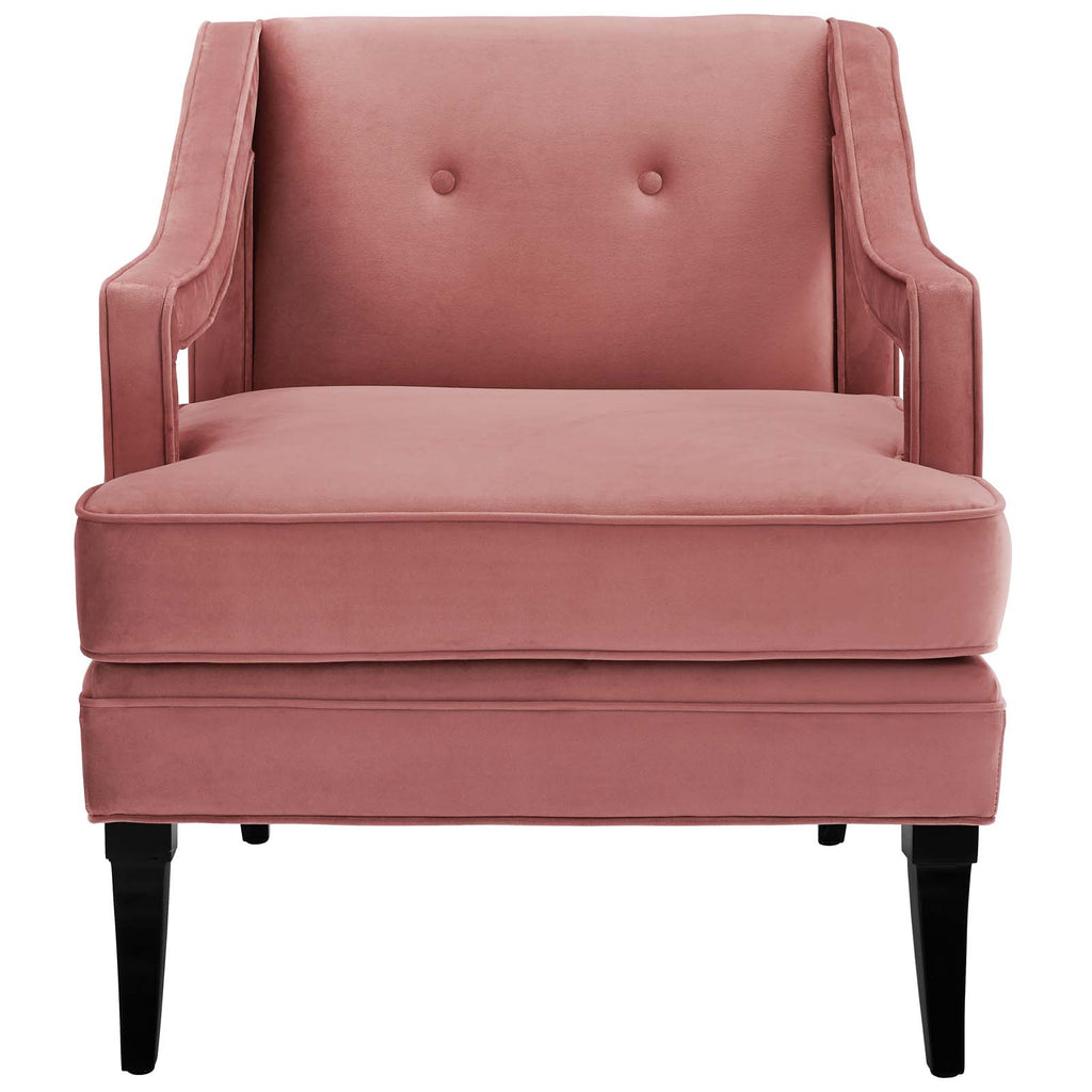 Concur Button Tufted Performance Velvet Armchair - Dusty Rose