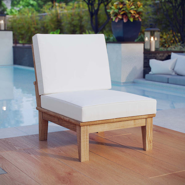 Marina Armless Outdoor Patio Teak Sofa - Natural White