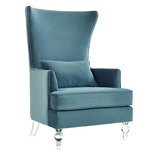Bristol Sea Blue Velvet Accent Chair with Lucite Legs