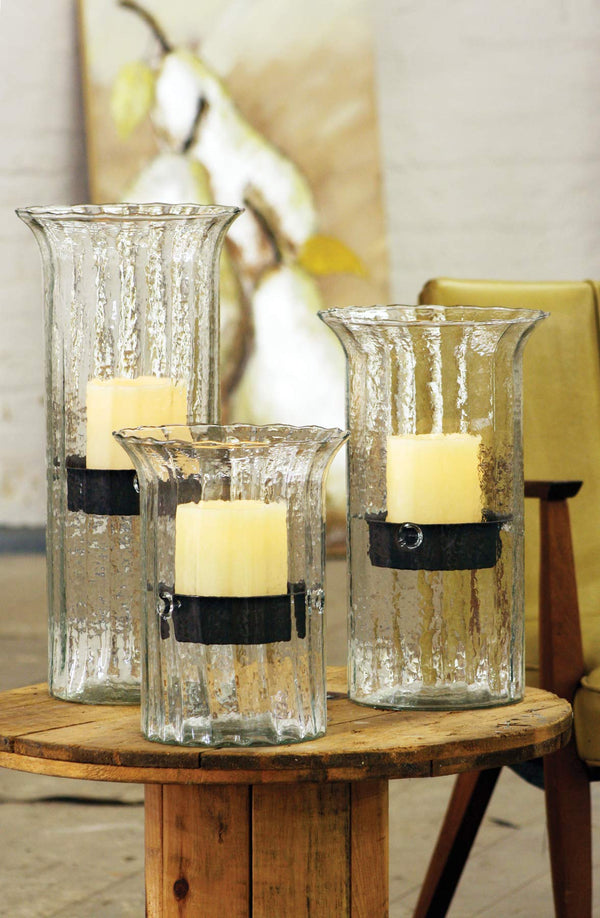 RIBBED GLASS CANDLE CYLINDER W RUSTIC INSERT - MEDIUM