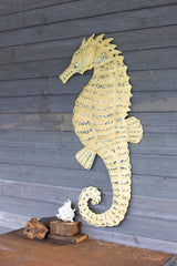 Hand Hammered Seahorse Wall Hanging - Rustic White
