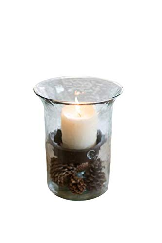 Glass Hurricane Pillar Candle Holder with Rustic Metal Insert, (Small)