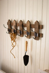 Wooden Picket Fence Coat Rack