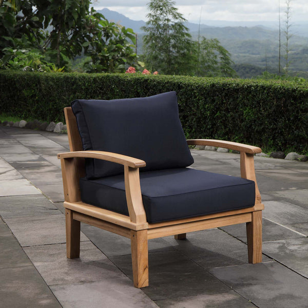 Marina Outdoor Patio Teak Armchair - Natural Navy