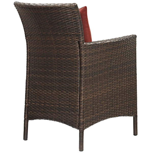 Conduit Outdoor Patio Wicker Rattan Dining Armchair Set of 4 - Brown Currant