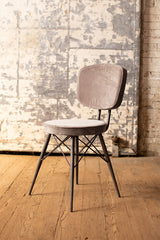 Velvet Dining Chair with Iron Frame - Cobblestone