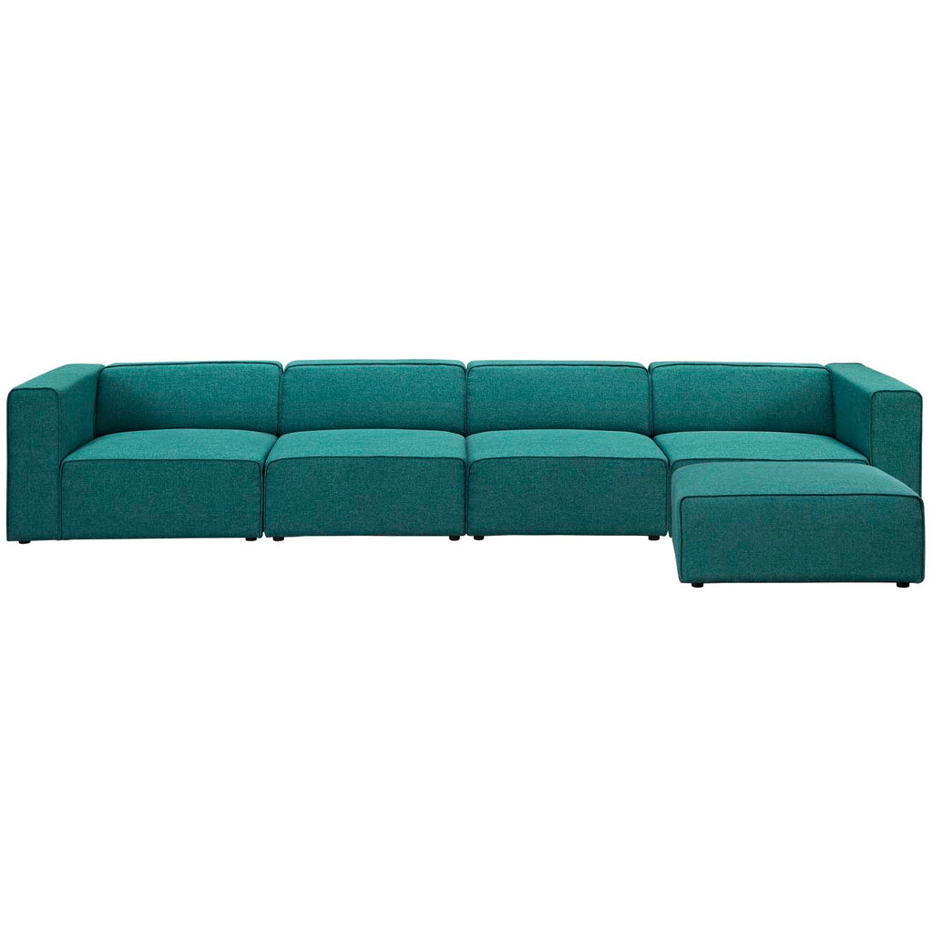 Mingle 5 Piece Upholstered Fabric Sectional Sofa Set - Teal