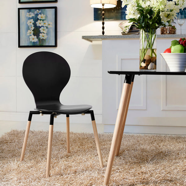 Path Dining Wood Side Chair in Black