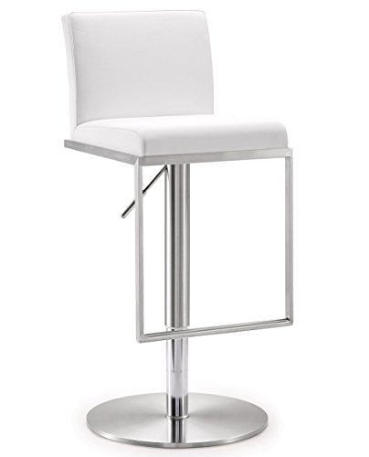 Amalfi White Stainless Steel Adjustable Barstool