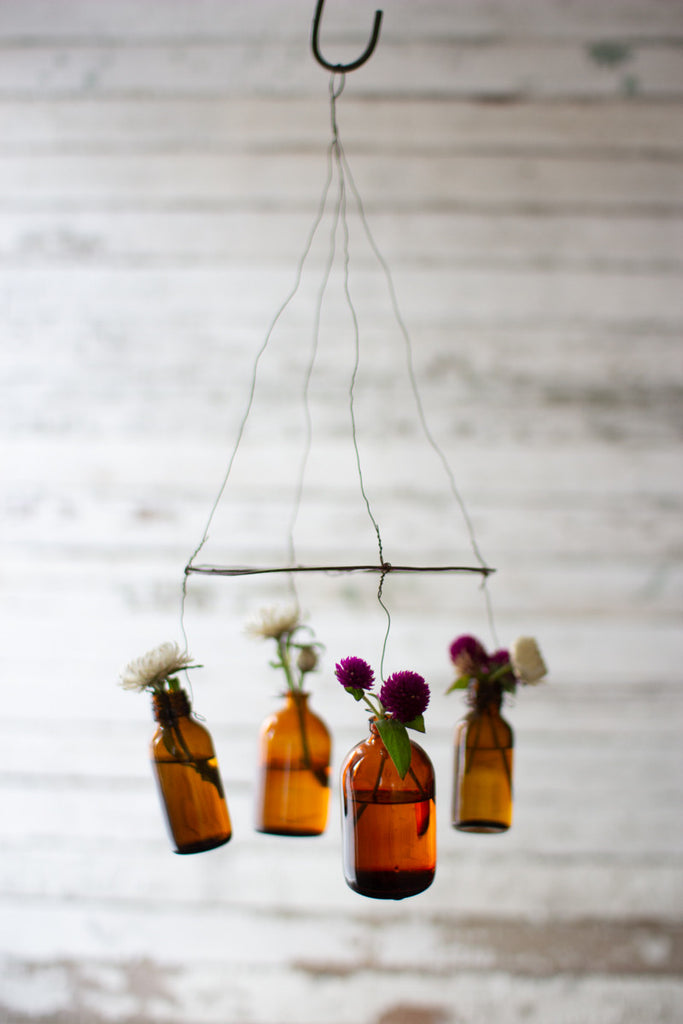 Hanging Wire and Amber Bottle Bud Vases