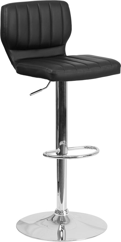 Contemporary Black Vinyl Adjustable Height Barstool with Vertical Stitch Back and Chrome Base
