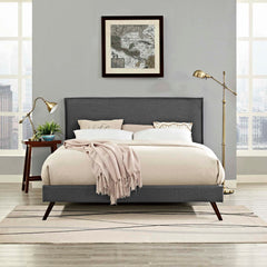 Amaris Queen Fabric Platform Bed with Round Splayed Legs - Gray