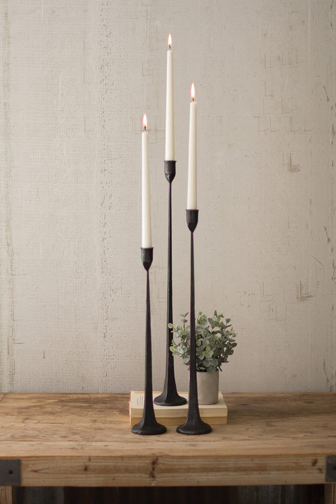 Set of Three Tall Cast Iron Taper Candle Holders