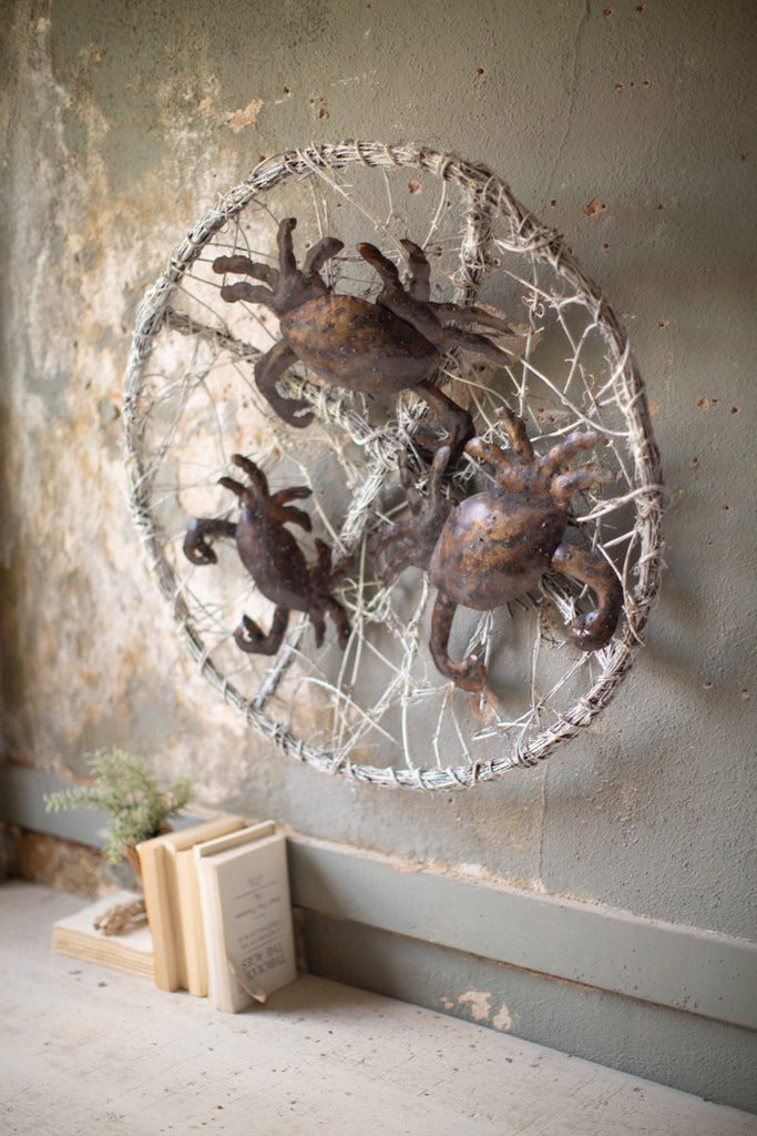 White Wash Twig Wall Basket with Three Metal Crabs