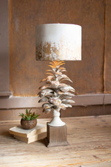 Table Lamp with Pine Cone Base and Metal Barrel Shade