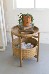 Set of Two Bamboo Baskets with Wooden Stand - Large