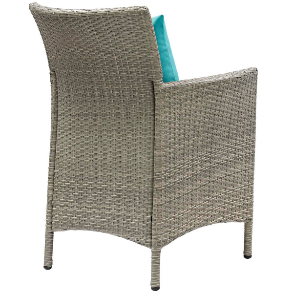 Conduit Outdoor Patio Wicker Rattan Dining Armchair Set of 4 - Light Gray Turquoise
