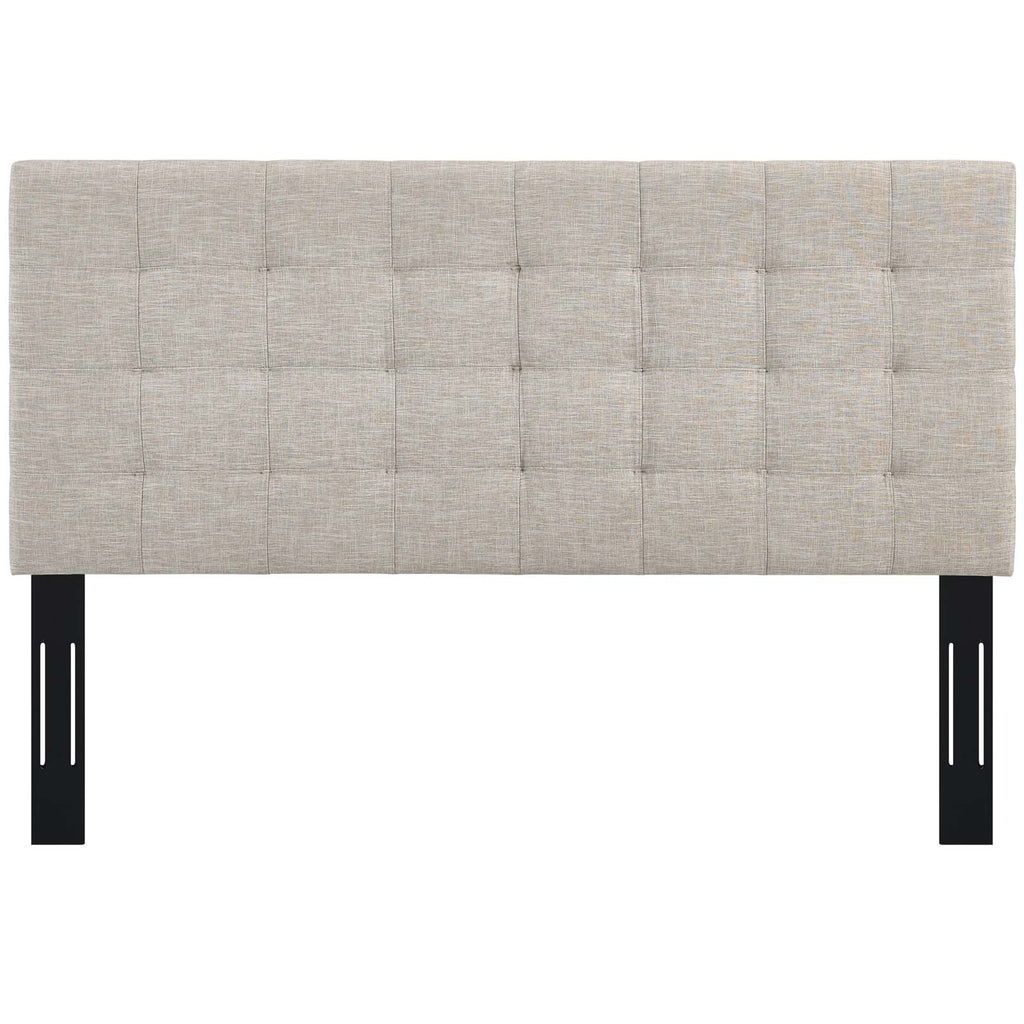 Paisley Tufted Full / Queen Upholstered Linen Fabric Headboard - Beige