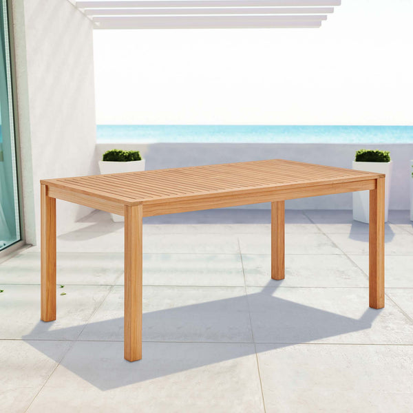 "Farmstay 63"" Rectangle Outdoor Patio Teak Wood Dining Table - Natural"