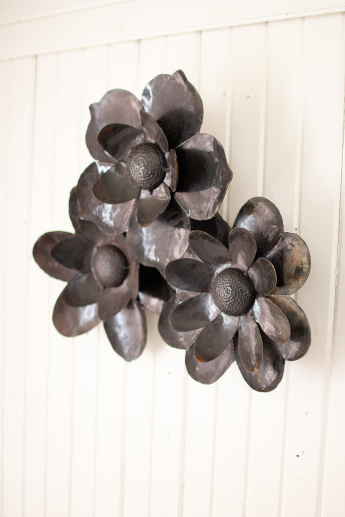 Set of Three Recycled Rustic Metal Wall Flowers