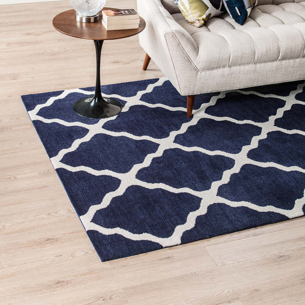 Marja Moroccan Trellis 5x8 Area Rug - Navy and Ivory