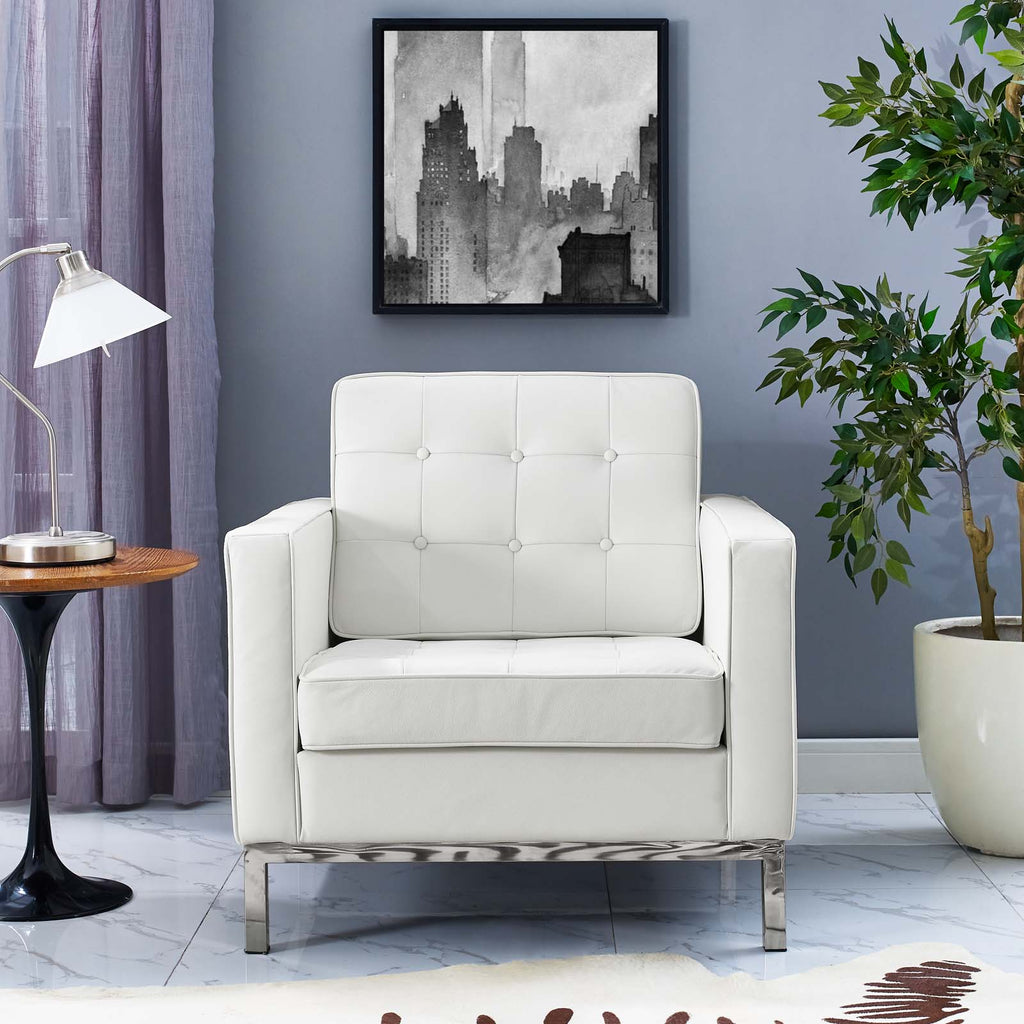 Loft Leather Armchair - Cream White