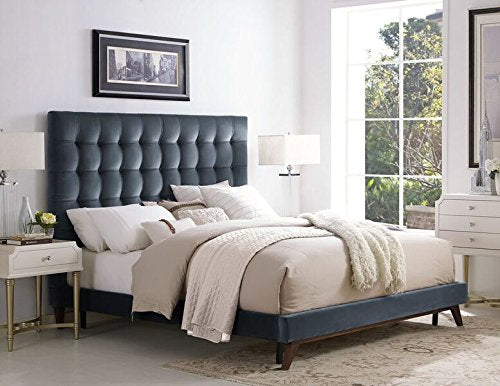 Eden Grey Velvet Bed in Queen