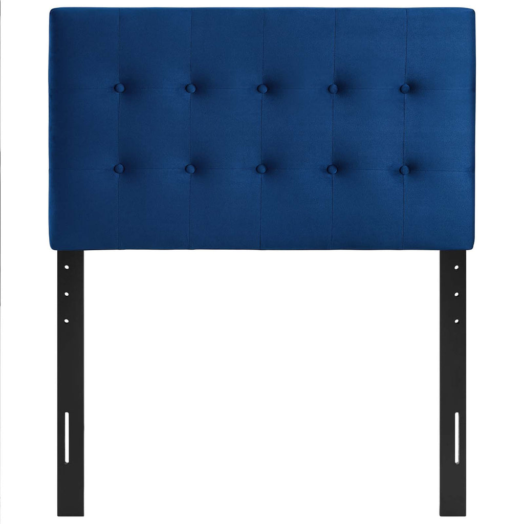 Emily Twin Biscuit Tufted Performance Velvet Headboard - Navy