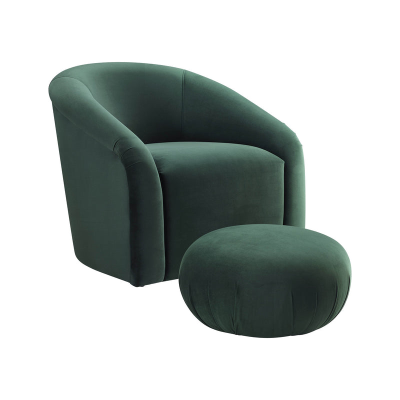 Boboli Forest Green Velvet Accent Chair + Ottoman Set