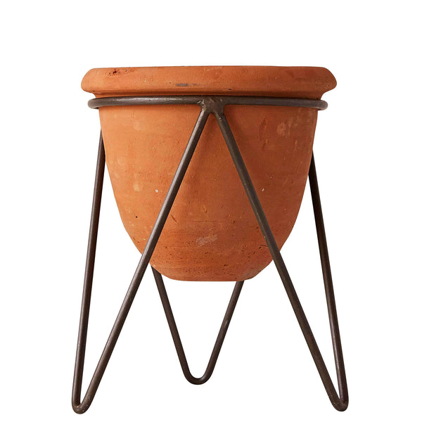 "Terracotta PoT with Metal Stand, Holds a 5"" Pot."