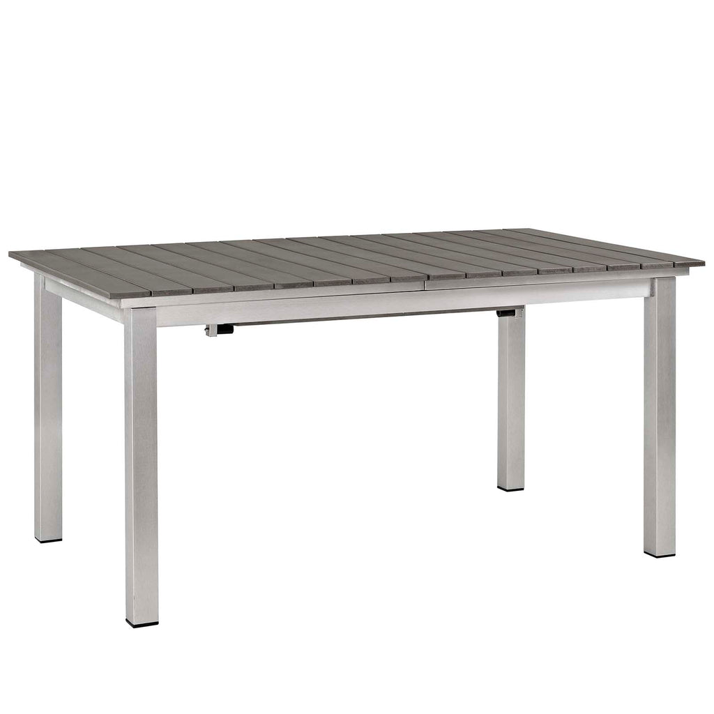 Shore 9 Piece Outdoor Patio Aluminum Outdoor Dining Set - Silver Gray