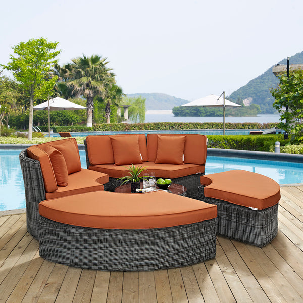 Summon Circular Outdoor Patio Sunbrella Daybed - Canvas Tuscan