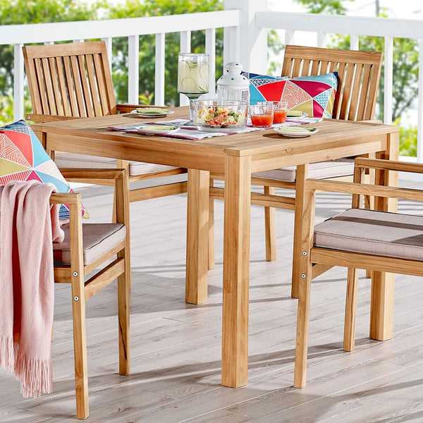 "Farmstay 36"" Square Outdoor Patio Teak Wood Dining Table - Natural"