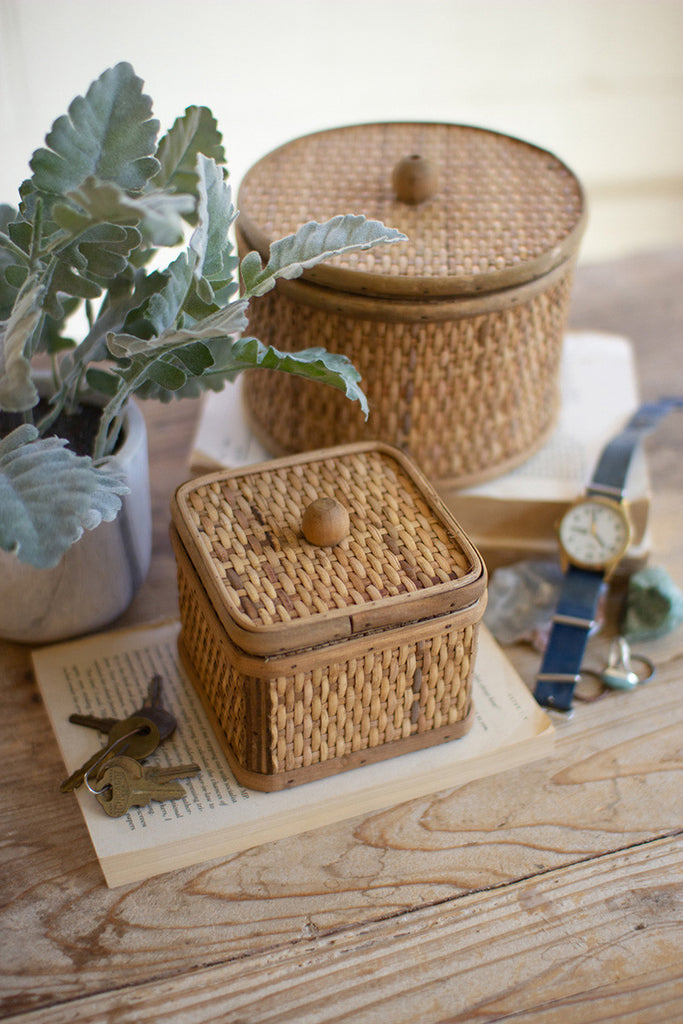 Set of Two Round and Square Woven Cane Boxes