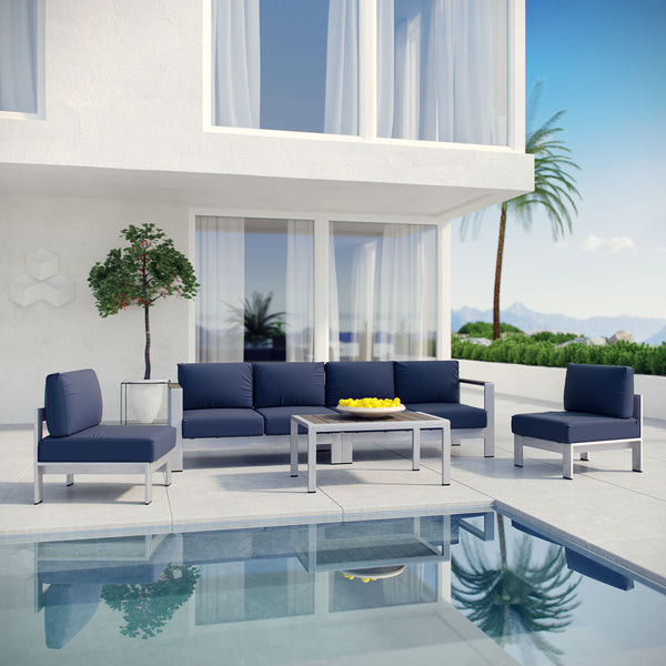 Shore 5 Piece Outdoor Patio Aluminum Sectional Sofa Set - Silver Navy