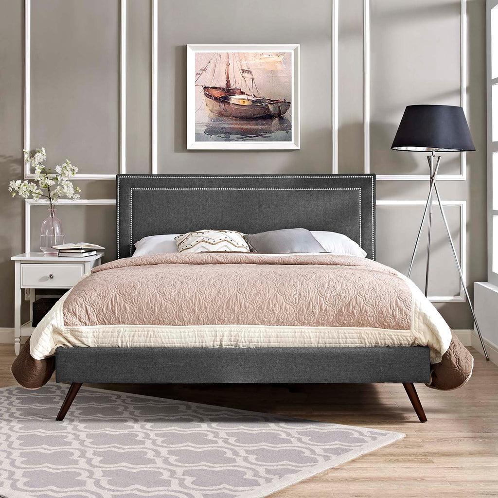 Virginia King Fabric Platform Bed with Round Splayed Legs - Gray