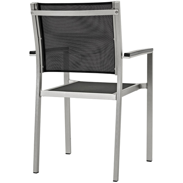Shore Outdoor Patio Aluminum Dining Chair in Silver Black
