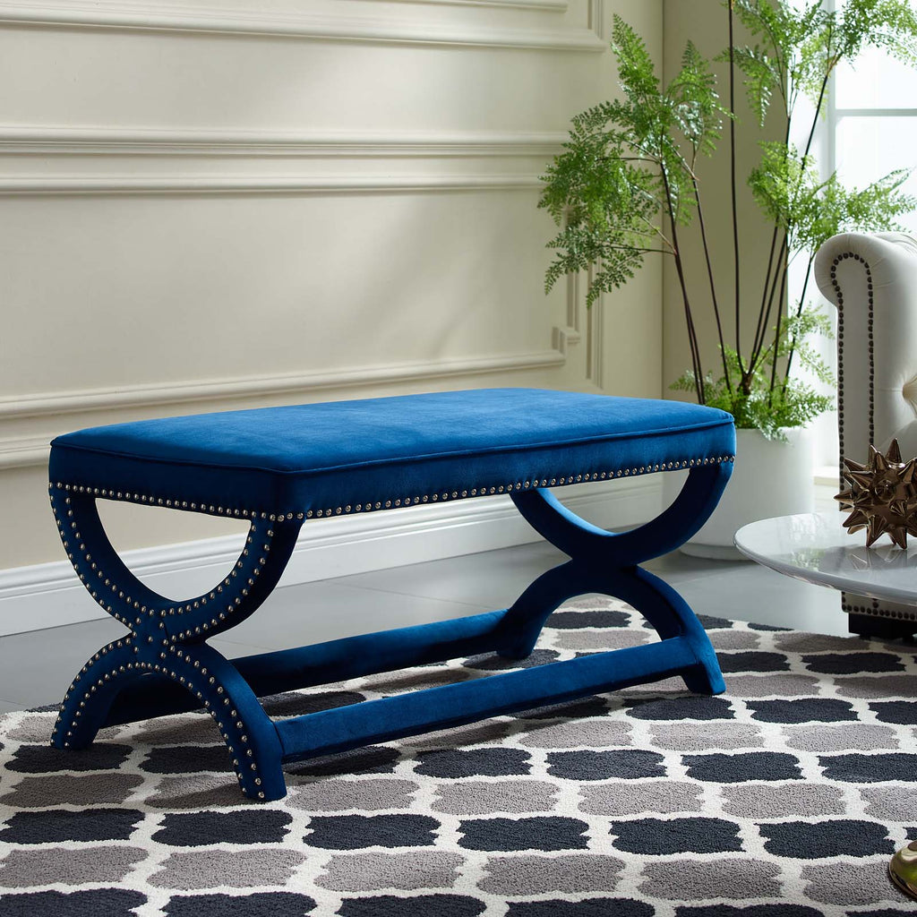 Expound Upholstered Nailhead Trim Performance Velvet Bench - Navy