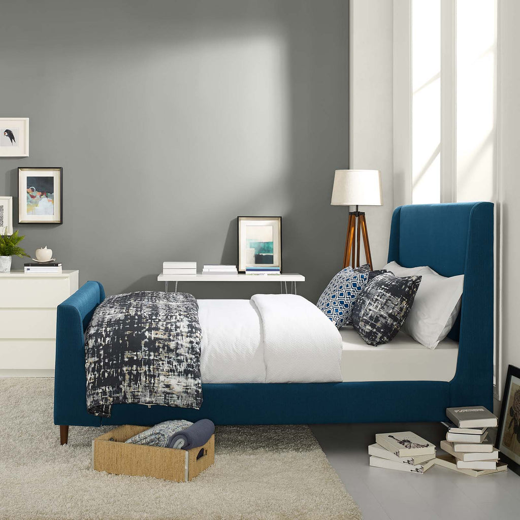 Aubree Queen Upholstered Fabric Sleigh Platform Bed - Azure