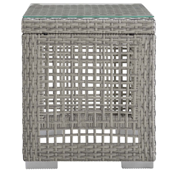 Aura Outdoor Patio Wicker Rattan Side Table - Gray