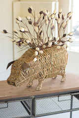 Woven Seagrass Pig Planter