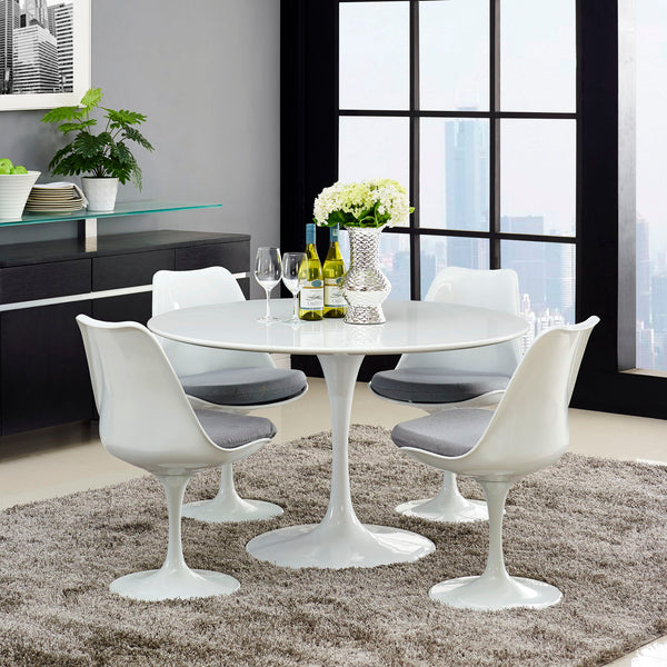 "Lippa 47"""" Wood Top Dining Table in White"