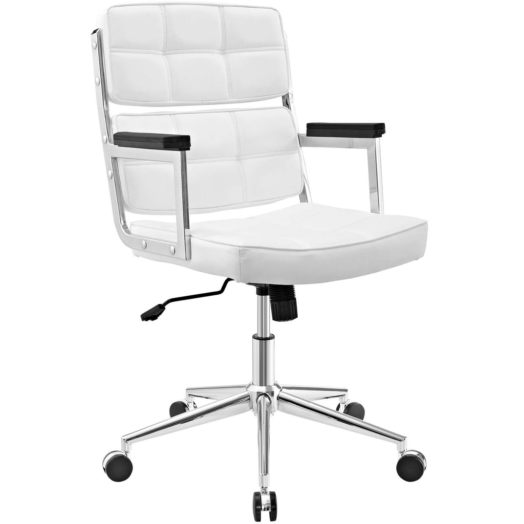 Portray Highback Upholstered Vinyl Office Chair - White