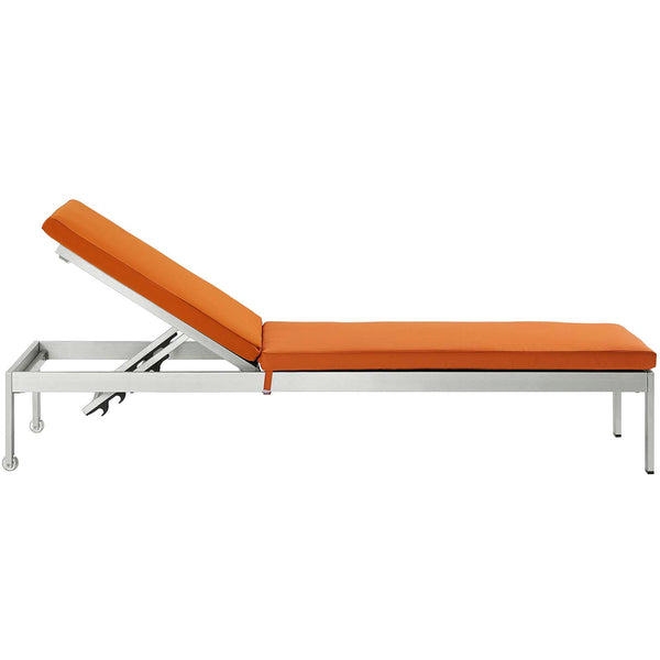 Shore Outdoor Patio Aluminum Chaise with Cushions - Silver Orange