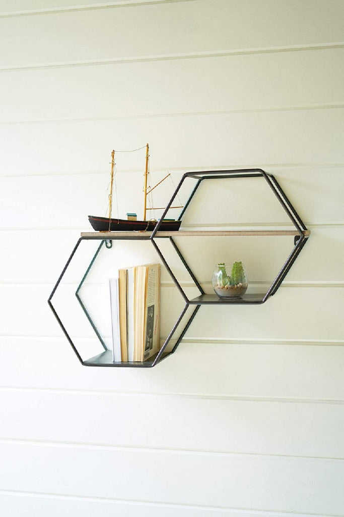Metal And Wood Hexagon Wallshelf