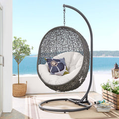 Hide Outdoor Patio Sunbrella® Swing Chair With Stand - Gray White